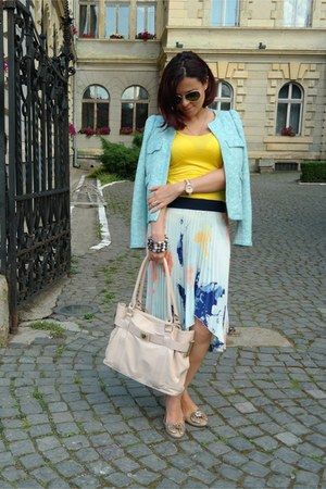 aquamarine Zara blazer - white Zara skirt - yellow Stefanel top