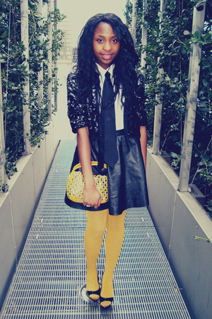 lanvin shoes - DIM tights - Sonia Rykiel bag - leather H&amp;M skirt - H&amp;M tie