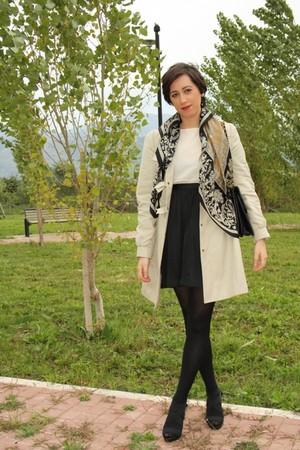 beige Asos trench coat - black H&M skirt - white vintage top - beige By my mothe