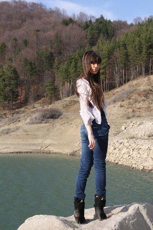 dark green glow boots - silver bershka dress - blue bershka jeans