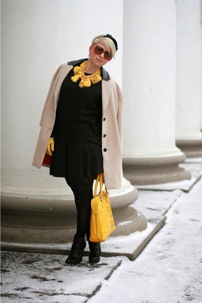 yellow Irina Wellker necklace - tan kira plastinina coat - black H&M sweater