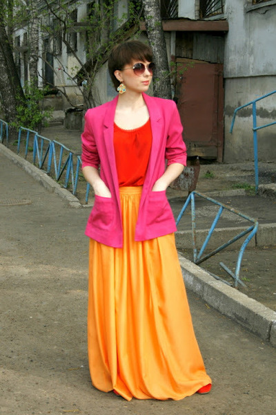 carrot orange Zara skirt - hot pink H&M jacket - red H&M blouse