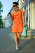carrot orange Incity dress - aquamarine Zara necklace