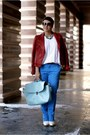 Ruby-red-zara-jacket-white-promod-sweater-blue-h-m-pants