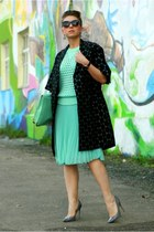 black Marni at H&M coat - aquamarine Zara skirt - aquamarine H&M top