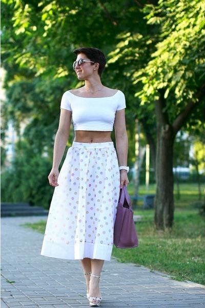 white asos top - bubble gum Furla bag - white asos skirt