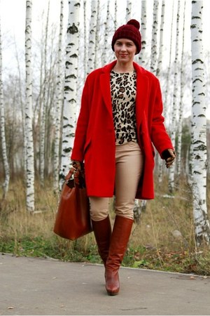 red asoscom coat - brick red H&amp;M hat - brown Zara bag