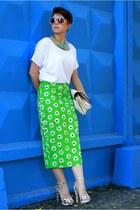 green asos skirt - white Ann Christine t-shirt