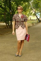 pink Vero Moda skirt - light pink BeFree jacket - magenta Prada bag