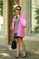 hot pink Zara coat - black DKNY bag - black MMM at H&M pumps