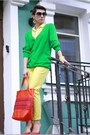 Yellow-h-m-pants-carrot-orange-dkny-bag-green-h-m-cardigan