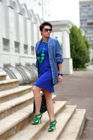 blue Incity dress - blue H&M cardigan - green Zara heels