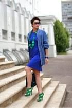 blue Incity dress - blue H&M cardigan - green Zara heels