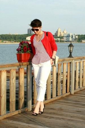 red H&M cardigan - white H&M pants
