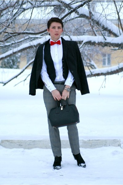 black Furla bag - black Zara pants - red H&M tie