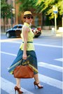 Light-yellow-h-m-shirt-brown-massimo-dutti-bag-teal-monsoon-skirt