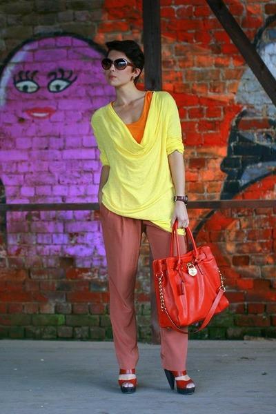 light yellow Zara sweater - carrot orange Michael Kors bag - orange Zara t-shirt