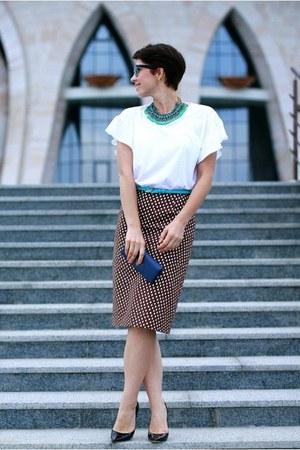 dark brown Prada skirt - white Zara t-shirt - black Jimmy Choo pumps
