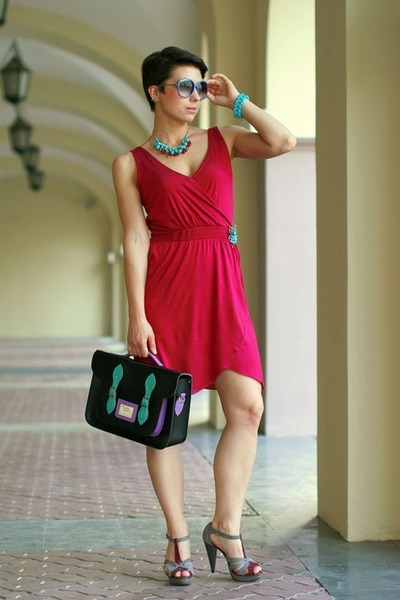 ruby red H&M dress - black The Cambridge Satchel bag - silver Aldo heels