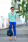 Blue-promod-pants-aquamarine-h-m-top-carrot-orange-zara-pumps