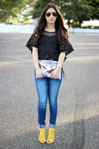 black Local store top - navy Zara jeans - Local store bag