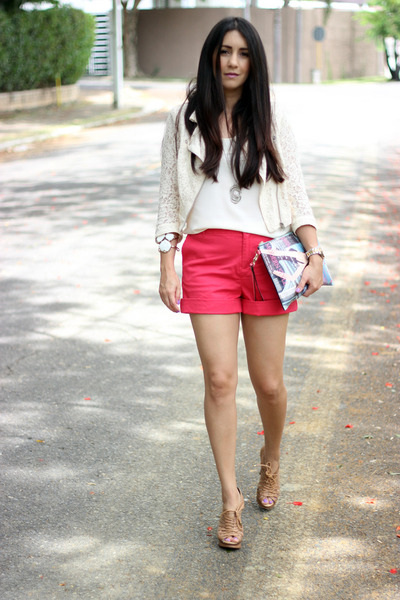 neutral H&M jacket - red Forever 21 shorts - eggshell papaya top