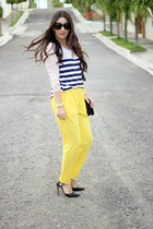 Yellow Pants and Stripes Top