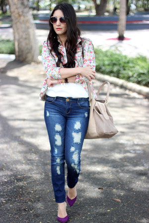 coral Forever21 blazer - navy Stradivarius jeans - cream Sole Society bag