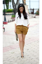 ivory H&M top - mustard Forever21 shorts - black Shoedazzle pumps