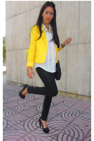 yellow Forever 21 blazer - black citizens of humanity pants