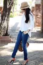 neutral papaya shirt - navy Zara jeans - nude suiteblanco hat