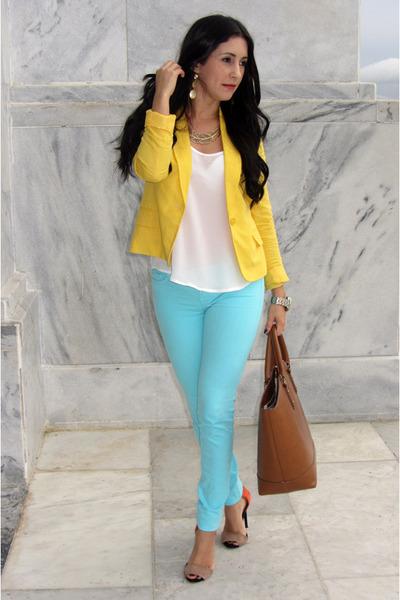 Yellow blazer + turquoise jeans