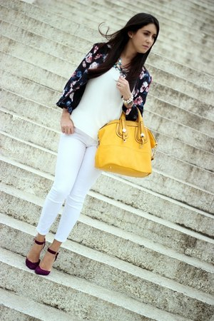 mustard Shoedazzle bag - white Zara jeans - black Sheinsidecom jacket
