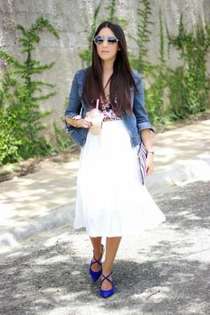 blue LAB jacket - black Zara blouse - ivory Local store skirt
