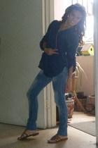blue Zara jeans - brown Delicious shoes - blue shirt