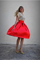 red DIY skirt - gold Mango heels - gold Mango top - gold Accessorize necklace