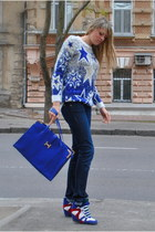 blue sweater - blue bag - navy panties - red sneakers