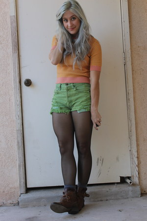 brown Gianni Binni boots - green Urban Outfitters shorts