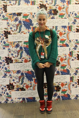 dark green deer Urban Outfitters jumper