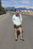 aquamarine H&M sweater - dark khaki BCBG shorts - black sam edelman loafers
