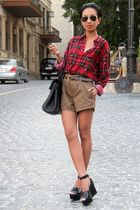 red Ralph Lauren shirt - black wedges Sonia Rykiel by H&M shoes - Mango