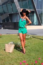 black Guess - black Topshop - green tube romper Mango - Pinkgifted accessories