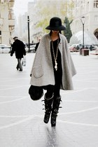 black aviator Burberry boots - heather gray cape vintage coat - black custom mad