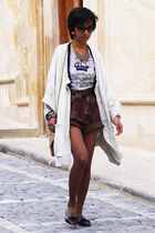 beige Stella McCartney coat - brown high waisted donna karan shorts