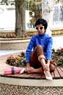 Ivory-kitten-heels-aldo-shoes-blue-custom-made-sweater-pink-raffia-shoulder-