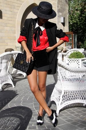 black boater Zara hat - shoes - Prada sunglasses - black Stella McCartney