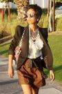 Black-zara-blazer-beige-temperley-london-blouse-brown-donna-karan-shorts-m