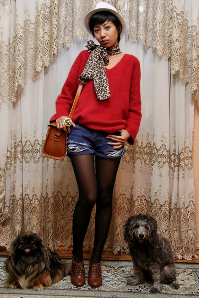 brown H&M shoes - red fluffy vintage ebay sweater