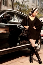black - gray Accessorize tights - black Marc Jacobs boots - black Zara purse - f