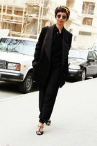 black H&M shoes - black fluffy Diddys sweater - black boyfriend Derek Lam blazer